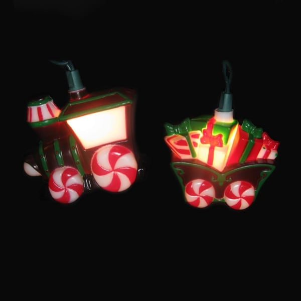 Set of 10 Candy Train and Carriage Novelty Christmas Lights - Green Wire - brown