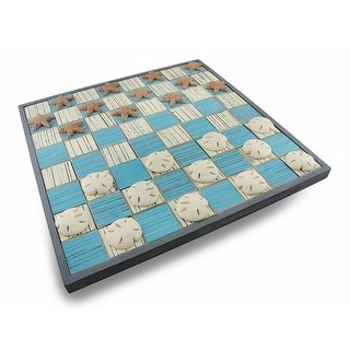 Blue/White Wooden Checkerboard Game w/Sand dollar and Starfish Playing Pieces