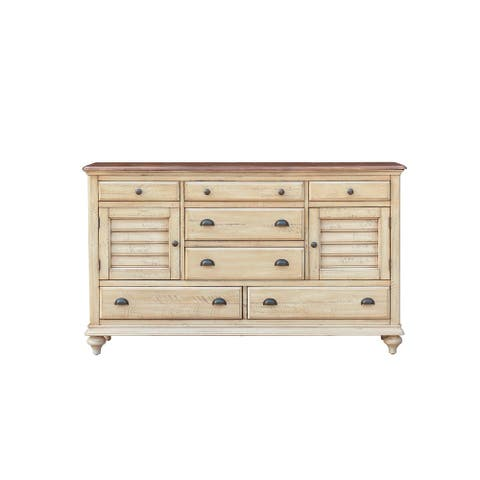 """65"""" Brown Shades of Sand Handcrafted 7 Drawer Dresser with Antique Black Steel Cup Handles"""