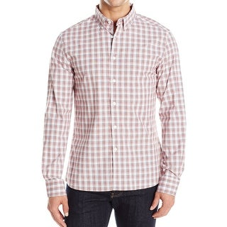 Kenneth Cole Reaction NEW Red Mens Size XL Button Down Plaid Shirt