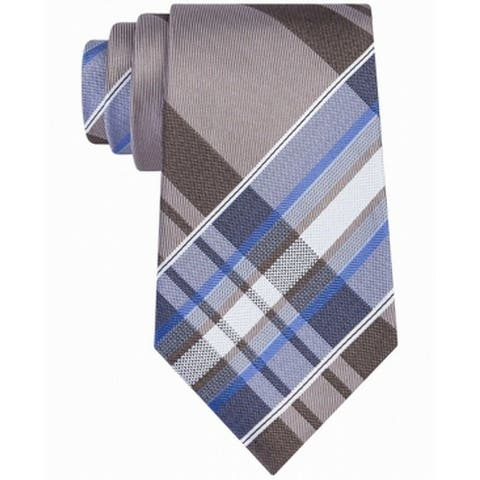 Kenneth Cole Reaction Blue Brown Classic Slim Neck Tie Silk Accessory