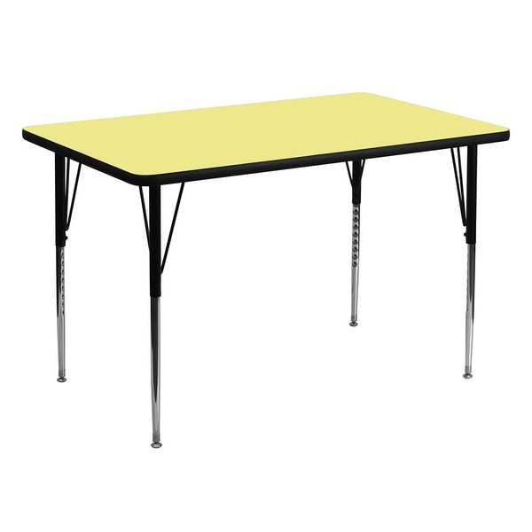 Offex 36''W x 72''L Rectangular Activity Table with Yellow Thermal Fused Laminate Top and Standard Height Adjustable Leg