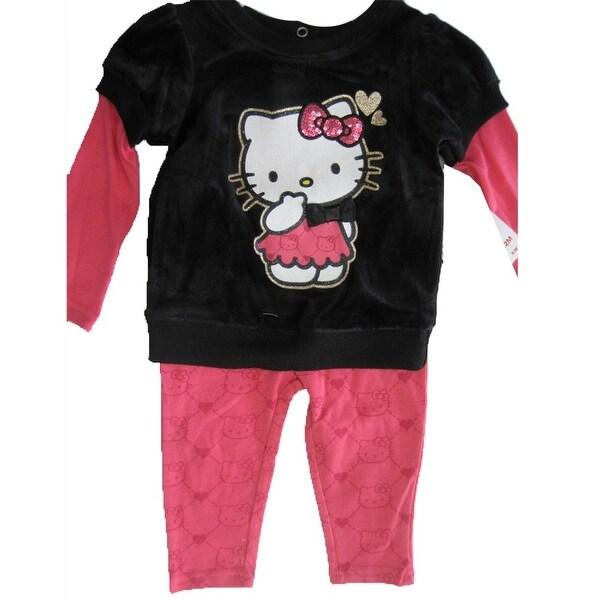 Hello Kitty Baby Girls Black Pink Sparkly Applique Dress 12M-24M