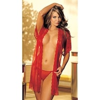 8464b08a0fe64 Shop Sheer Illusion Marabou Robe - One Size Fits Most - Free ...