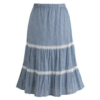 Women's Blue And White Stripe Boho Skirt