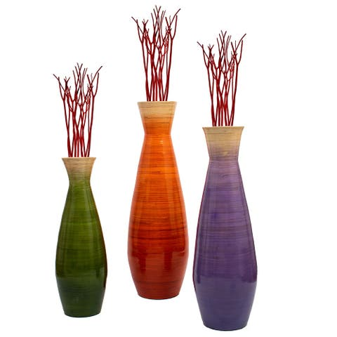 Tall Bamboo Floor Vase