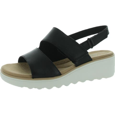 Clarks Jillian Pearl Women's Leather Double Banded Adjustable Slingback Sandals