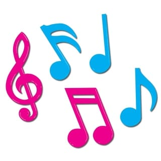 """Club Pack of 144 Metallic Pink and Blue Musical Notes Silhouettes 5""""-10"""""""