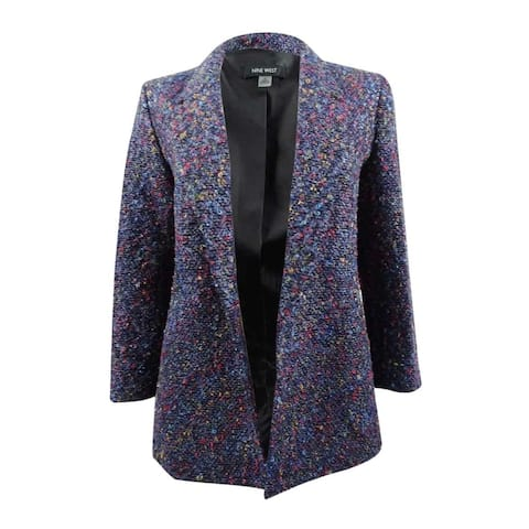 Nine West Women's Tweed Multicolor Flyaway Blazer - Night Sky