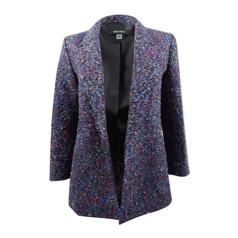 Nine West Women's Tweed Multicolor Flyaway Blazer