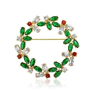 Bling Jewelry Gold Plated Marquise Green Red Clear CZ Wreath Pin Brooch