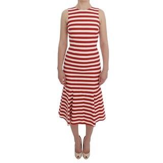 Dolce & Gabbana Dolce & Gabbana Red White Striped Stretch Sheath Dress - it36-xs