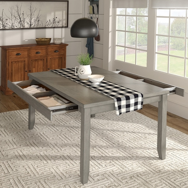 Elena Wood Rectangular Dining Table with Two Drawers by iNSPIRE Q Classic. Opens flyout.