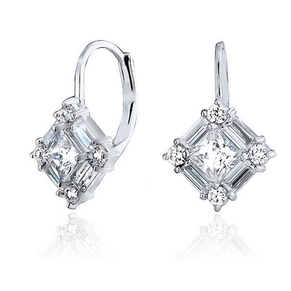 ad30c28ac Shop Bridal Deco Style Cubic Zirconia CZ Baguette Leverback Drop Earrings  For Women For Prom 925 Sterling Silver - On Sale - Free Shipping On Orders  Over ...