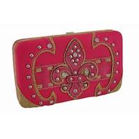 Studded Embossed Rhinestone Fleur De Lis Vinyl Hard Case Wallet