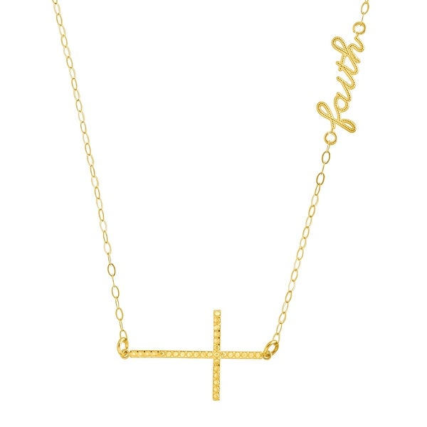 Just Gold Sideways Cross 'Faith' Script Necklace in 10K Gold - Yellow