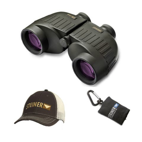"""Steiner 10x50 Military-Marine Binoculars with Cap and Cloth Pouch - 5.0"""" x 8.1"""" x 3.0"""""""