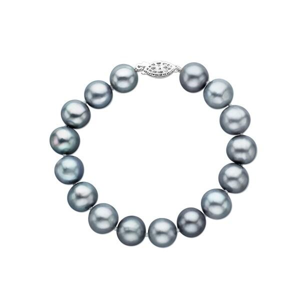 11-12 mm Grey Freshwater Pearl Bracelet in Sterling SIlver