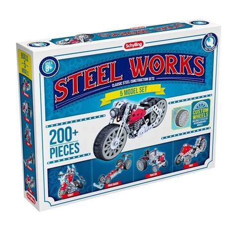 Schylling Steel Works 5 Model Set - Steel Construction Set Makes 5 Vehicles - Multi