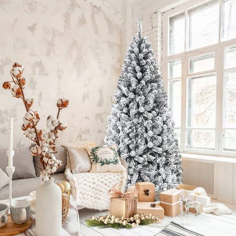 6FT/7.5FT/9FT Artificial Christmas Tree Snow Flocked Hinged Tree