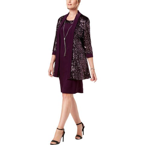 R&M Richards Womens Dress With Jacket Metallic Sequined - 8