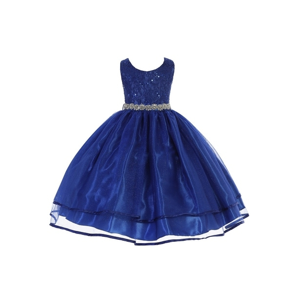 7183a8c74f85 Shop Little Girls Royal Blue Sequin Lace Sparkly Mesh Flower Girl Dress - Free  Shipping Today - Overstock - 24349654