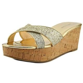 Marc Fisher Cilla 2 Women Open Toe Synthetic Gold Wedge Heel