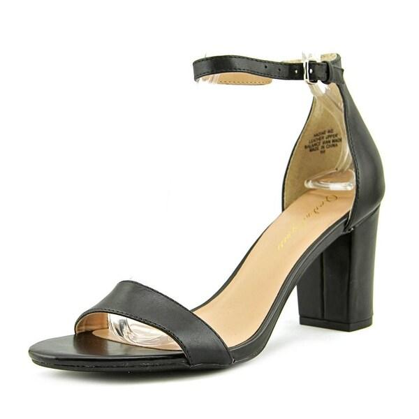 Amelia Grace Nadine Women Open-Toe Leather Black Slingback Heel