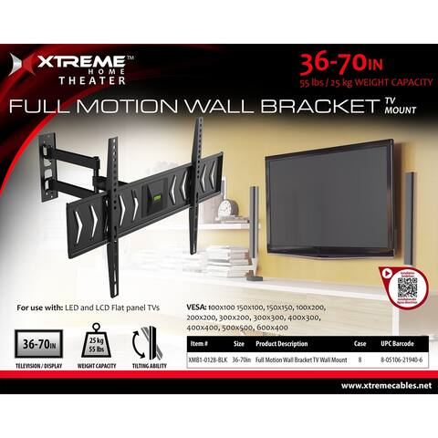 XT-XMB10128BLK Xtreme TV Mount 36-70in Full Motion55lbs