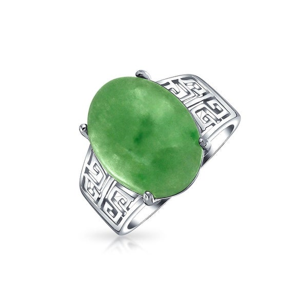 Oval Dyed Green Jade Greek Key Filigree Band Ring 925 Sterling Silver. Opens flyout.