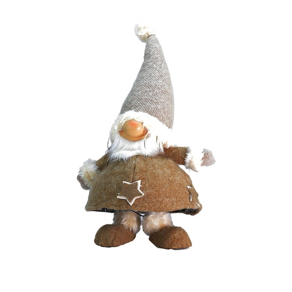 """18"""" Plush and Portly Champagne Bobble Action Gnome Christmas Tabletop Figure"""