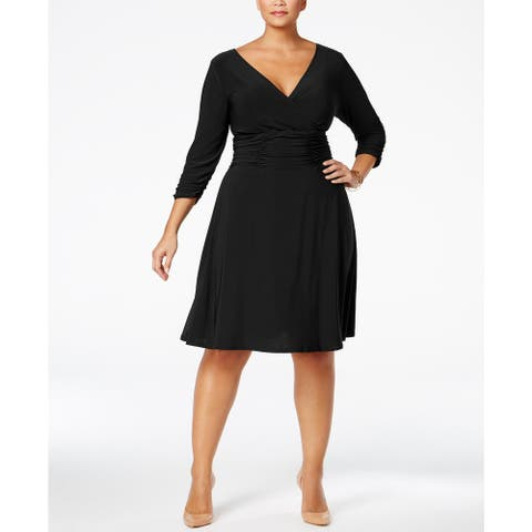 NY Women's Collection Plus Size Ruched A-Line Dress Black Size Extra Large