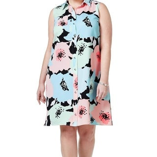 Calvin Klein NEW Blue Pink Women's Size 18W Plus Floral Shirt Dress