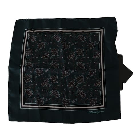 Dolce & Gabbana Green Floral Handkerchief Mens Silk Men's Scarf - one-size