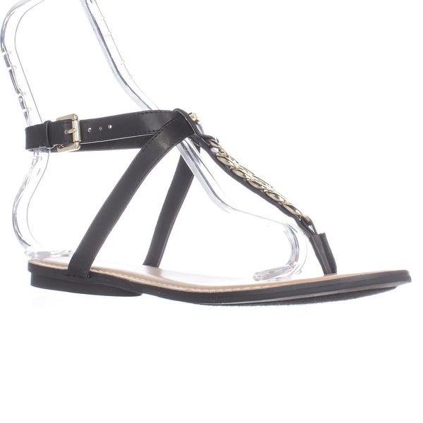 GUESS Gurri Chain T-Strap Flat Sandals, Black