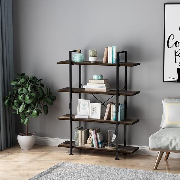 LANGRIA Industrial Bookcase, Vintage Rustic Bookshelf with Black Metal Frame and Multifunctional Antique Wood Look