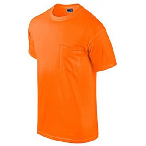 Gildan Short Sleeve Cotton Pocket Tee Shirt XXL, Safety Orange (Pack/2)