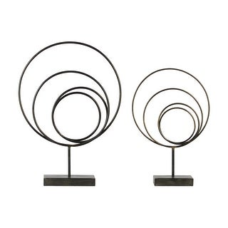 Round Metal Abstract Sculpture On Rectangular Stand, Set of 2, Gunmetal Gray