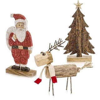 "Link to HomeRoots 5"" x 16"" x 18"" Natural/Black - Wood Reindeer Similar Items in Christmas Decorations"