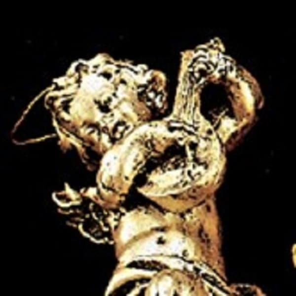 """Set of 10 Classic Gold and Black Musical Cherubs Christmas Ornaments 5"""""""
