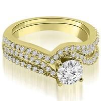 1.28 cttw. 14K Yellow Gold Twisted Split Shank Round Cut Diamond Bridal Set