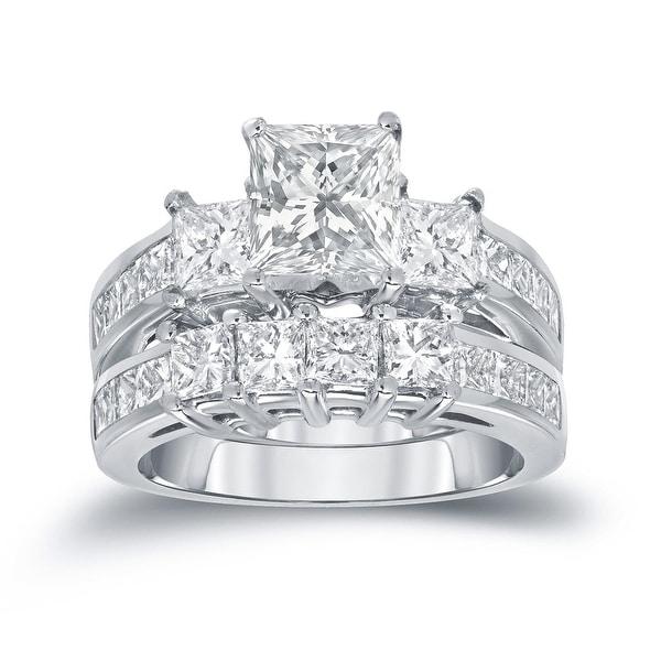 Auriya 14k Gold 3ctw Princess-cut 3-stone Diamond Engagement Ring Set. Opens flyout.