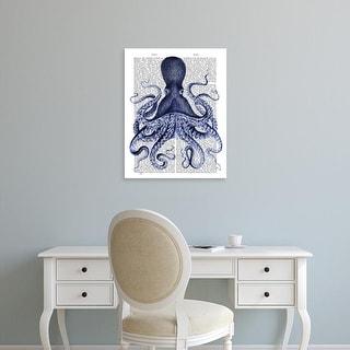 Easy Art Prints Fab Funky's 'Blue Octopus 3' Premium Canvas Art