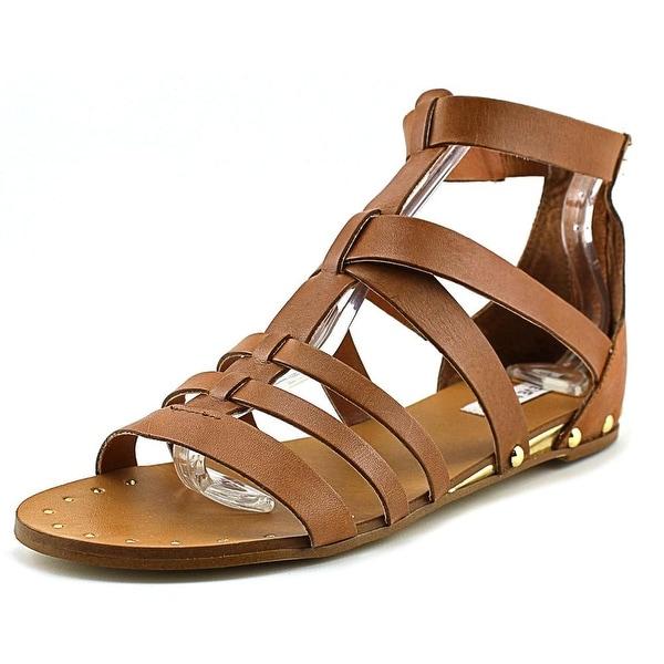 Steve Madden Drastik Women Open Toe Leather Tan Gladiator Sandal