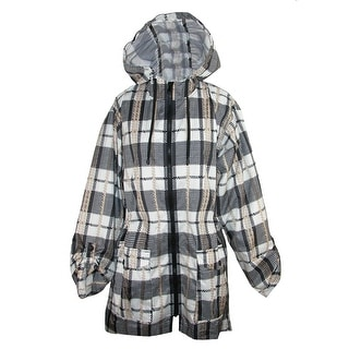 ShedRain Women's Plaid Hi-Lo Sleeve Packable Rain Jacket