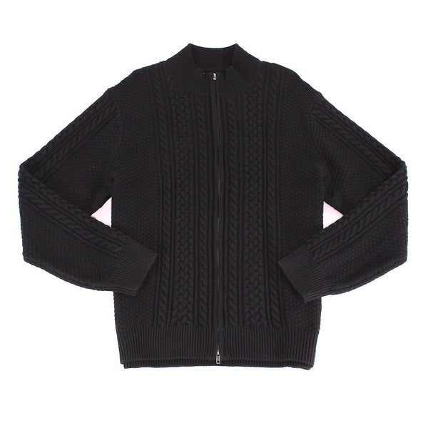 b4c9491e0e9 Shop Dockers NEW Black Mens Size 2XL Full Zip Cable Knit Wool ...