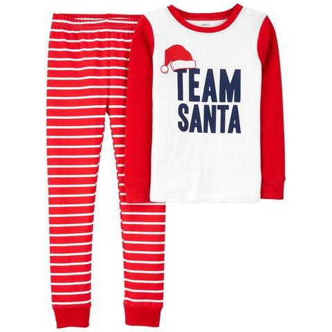 Carter's Boys' 2 Piece Snug Fit Pajama Cotton, Team Santa, Size 7