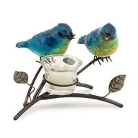 """Set of 4 Blue and Yellow Decorative Birds on a Brown Branch with a Tea Light Holder 5"""""""