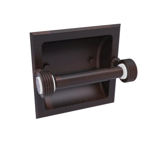 Allied Brass Pacific Grove Collection Recessed Toilet Paper Holder with Groovy Accents