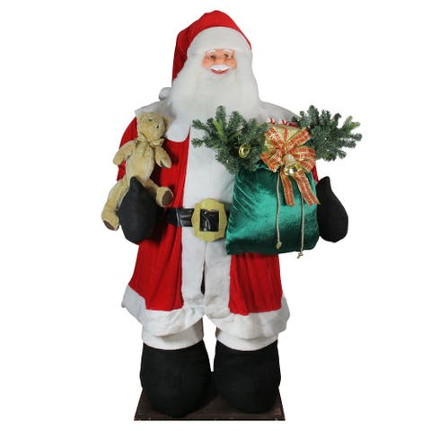 8' Huge LED Lighted Musical Inflatable Santa Claus Christmas Figure with Gift Bag - 8 Foot